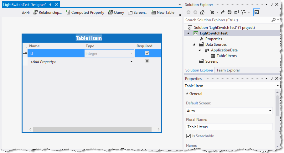 Visual Studio LightSwitch Table Link